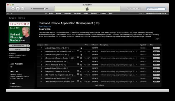 Curso de iPad e iPhone da Stanford - iTunes U