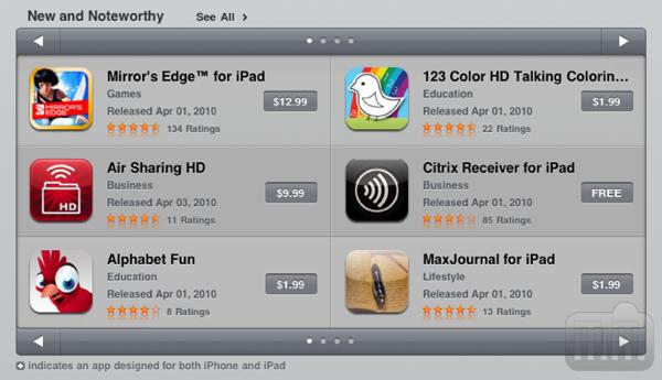 App Store (antiga) no iPad