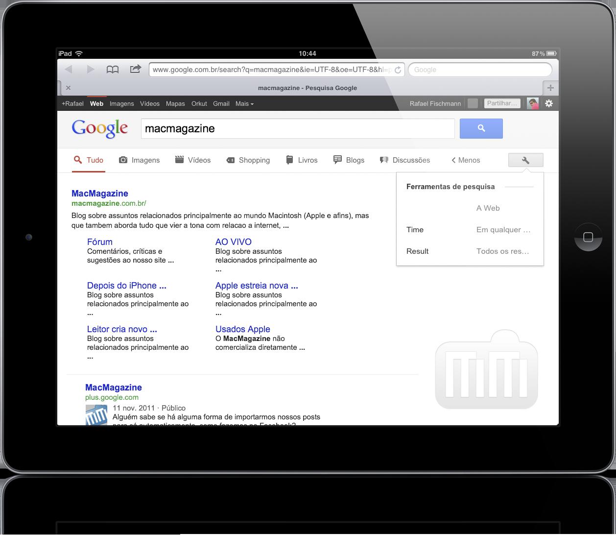 Interface de buscas do Google no iPad