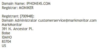 Whois do domínio iPhone4S.com