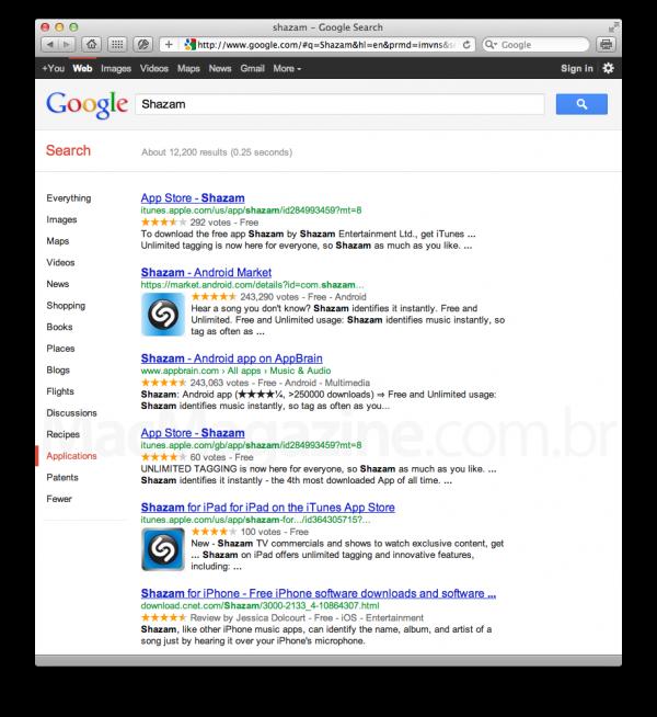 Busca por apps no Google.com