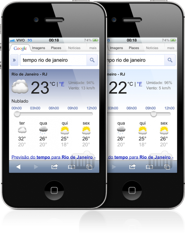Weather no Google mobile