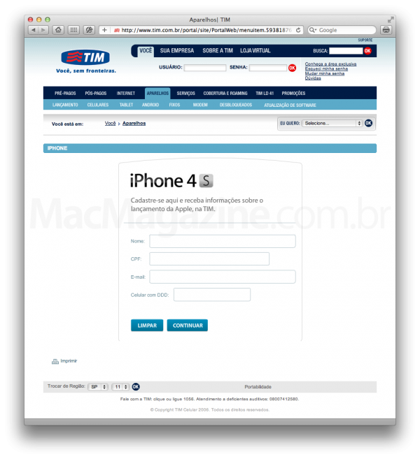 Cadastro do iPhone 4S na TIM