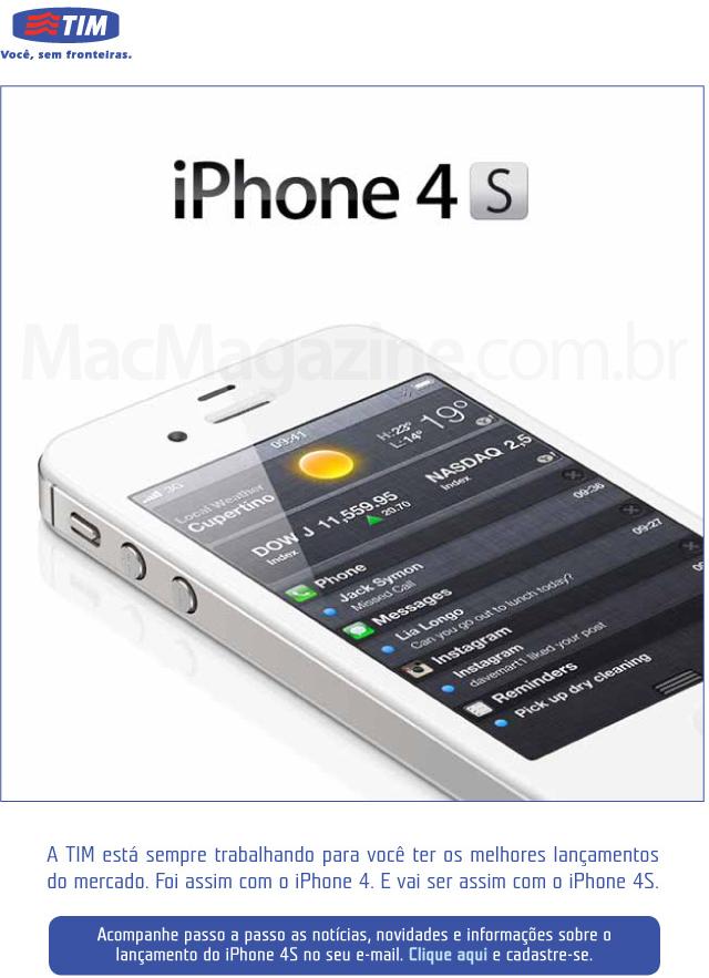 Email da TIM sobre o iPhone 4S
