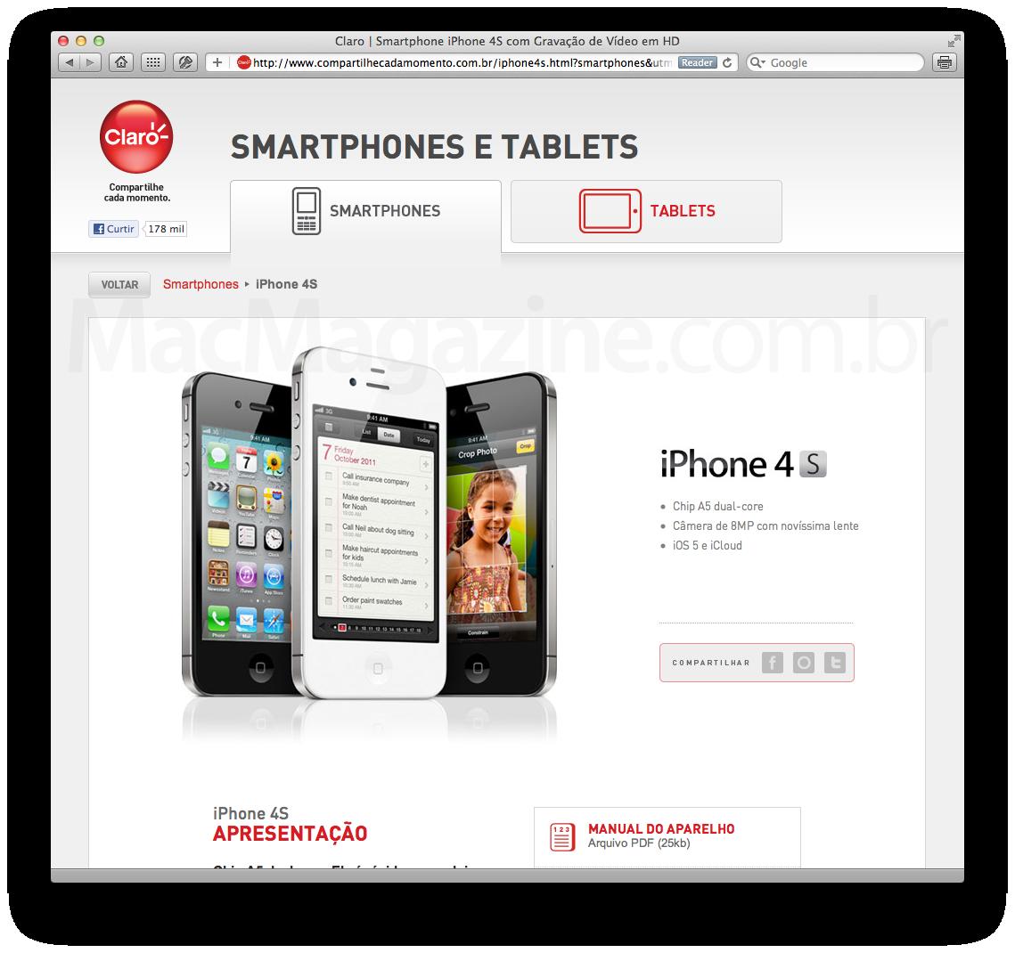 Cadastro do iPhone 4S na Claro