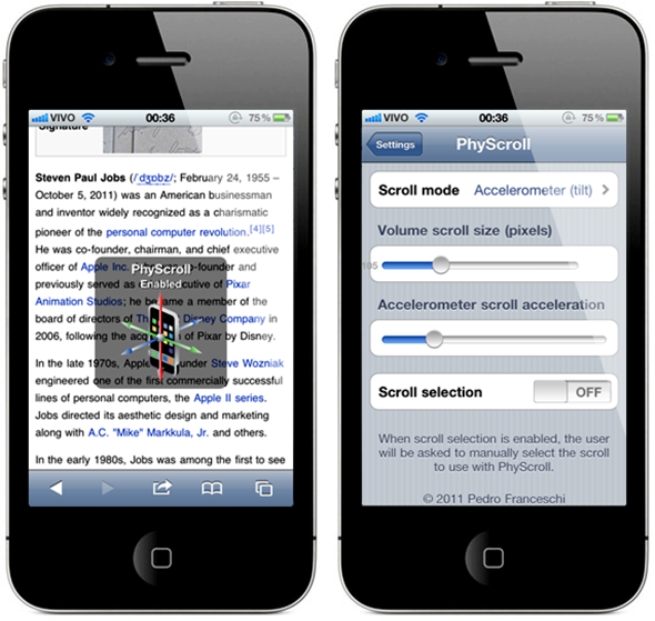 PhyScroll em iPhones