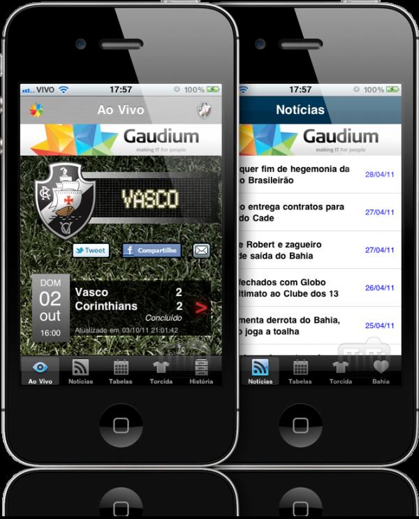 Apps de times da Gaudium no iPhone