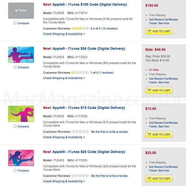 Comprando iTunes Gift Card na BestBuy.com