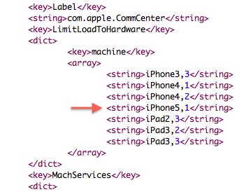 Novo modelo de iPhone no iOS 5.1