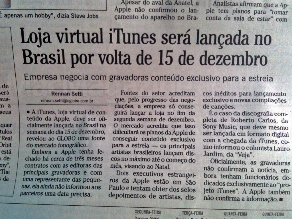 O Globo sobre iTunes Brasil