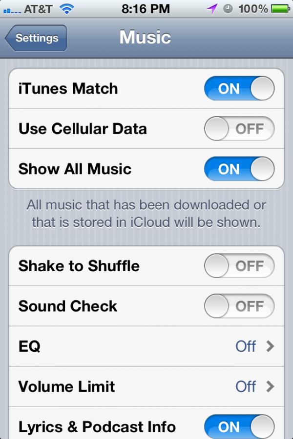 iTunes Match no iOS 5.1