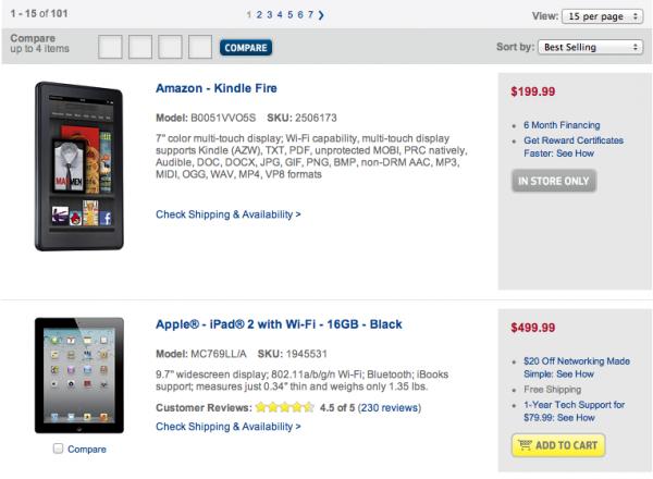Tablets mais vendidas na BestBuy.com