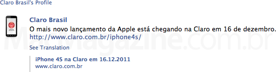 iPhone 4S na Claro - Facebook