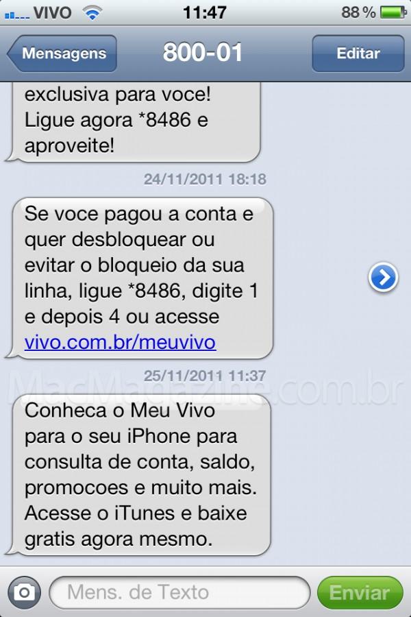 Meu Vivo - SMS precipitada