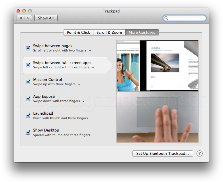 Gesto multi-touch passando por apps full-screen no OS X Lion