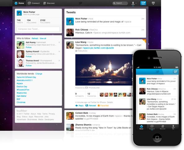 Novo Twitter no desktop e no iPhone