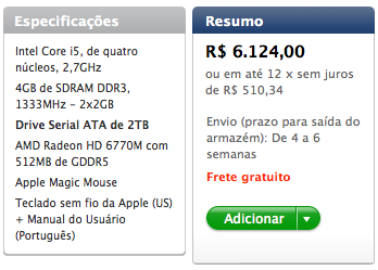 Prazo de entrega de iMac customizado no Brasil