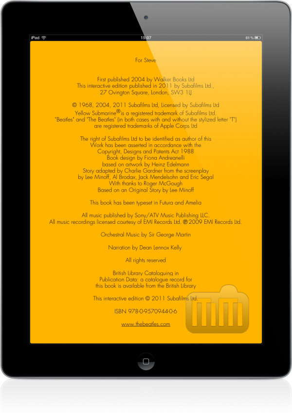 Livro Yellow Submarine no iPad