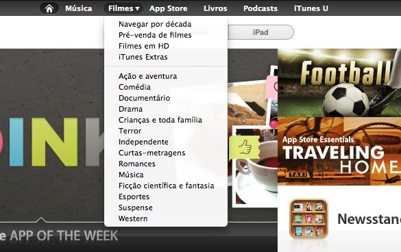 Menu da iTunes Store em português