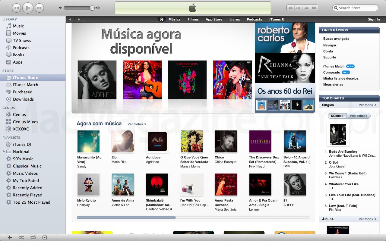 Destaques na iTunes Store Brasil