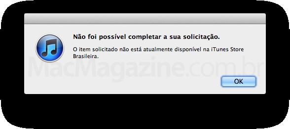 Erro de conteúdo na iTunes Store Brasil