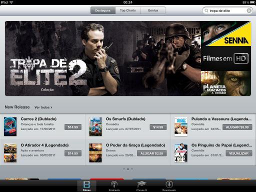 Filmes no iPad pela iTunes Store Brasil