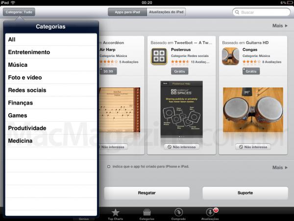 Games no iPad - iTunes Store Brasil