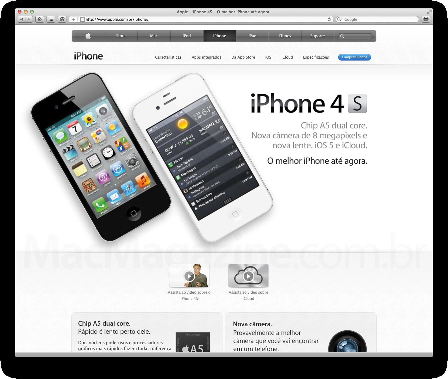 iPhone 4S no site da Apple Brasil