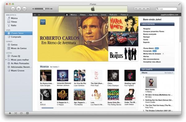 Janela da iTunes Store Brasil no Mac