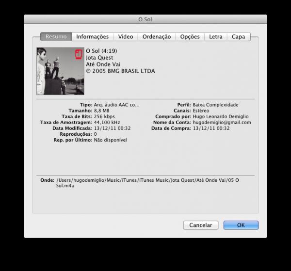 Música comprada na iTunes Store Brasil