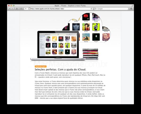 Página brasileira do iTunes