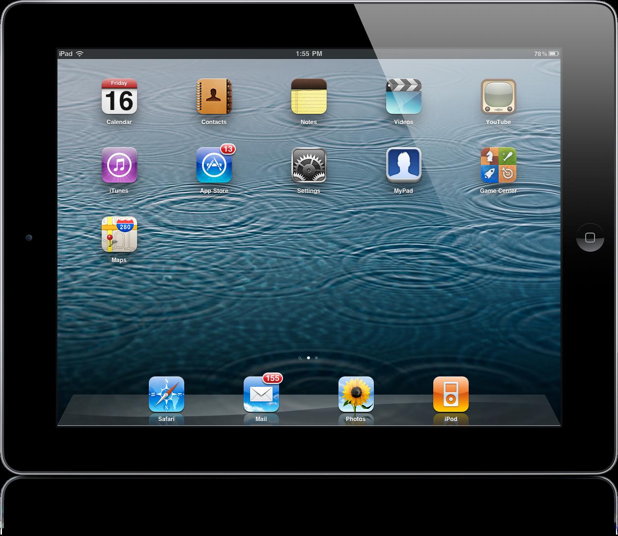 iPad com wallpaper do iOS 5.1