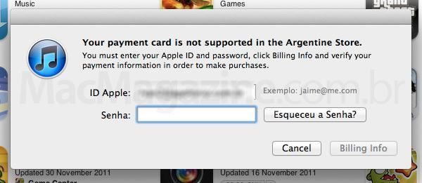 App Store argentina e cartão brasileiro