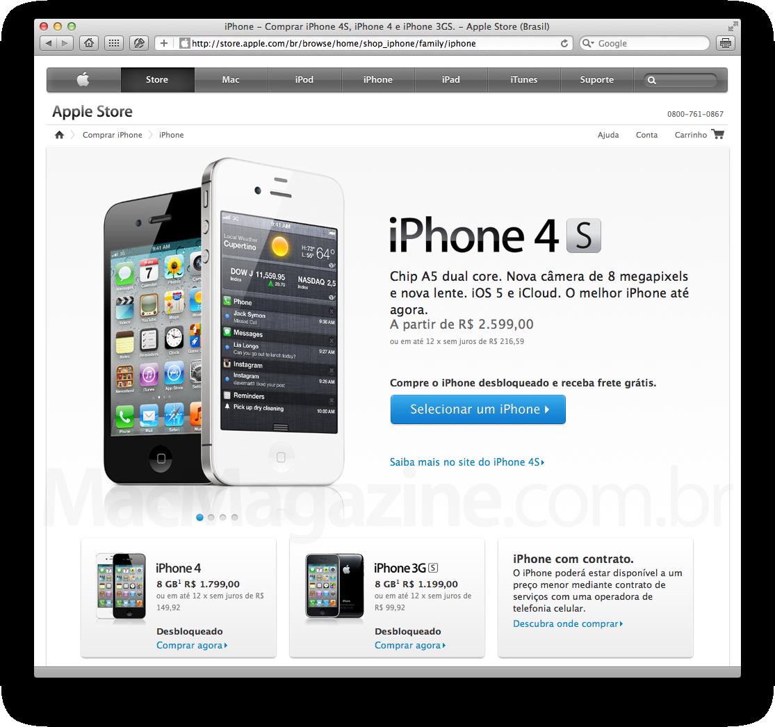 iPhones na Apple Online Store Brasil