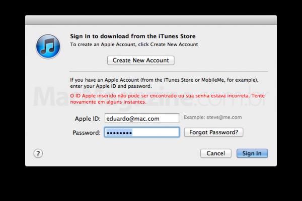 Mensagem de erro - Apple ID