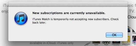Mensagem do iTunes Match