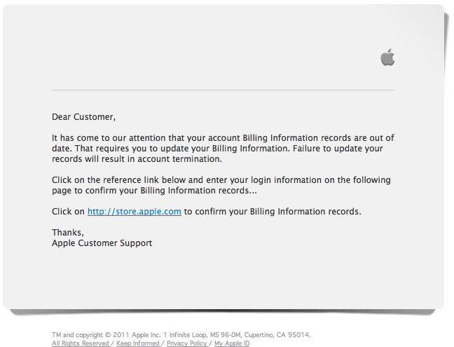 Phishing em nome da Apple