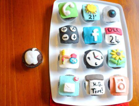 Cupcakes com ícones do iOS