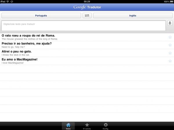 Google Translate no iPad
