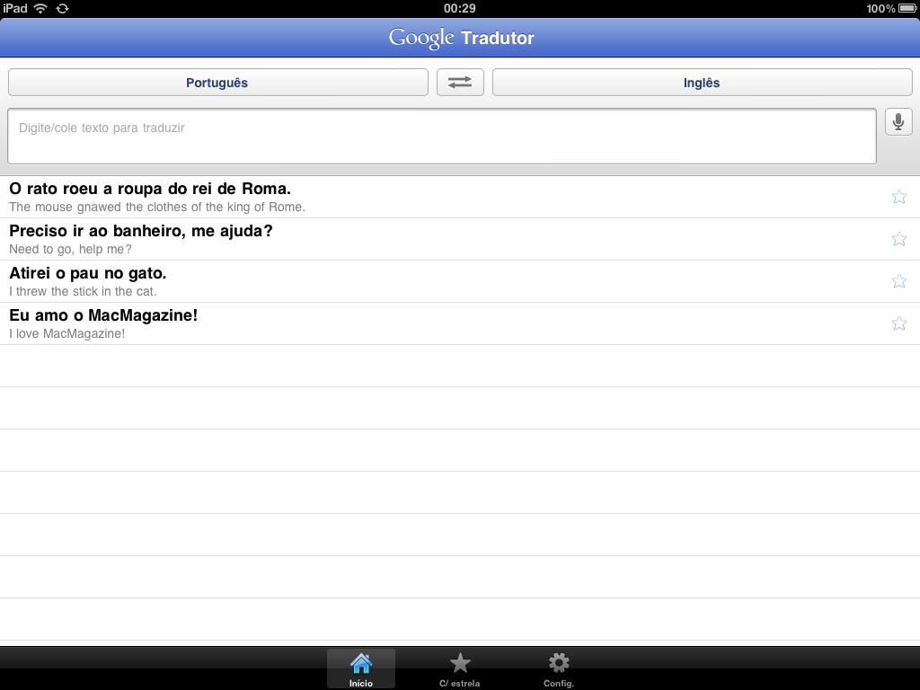 Google Translate no iPad