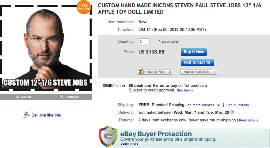 Miniatura de Steve Jobs no eBay