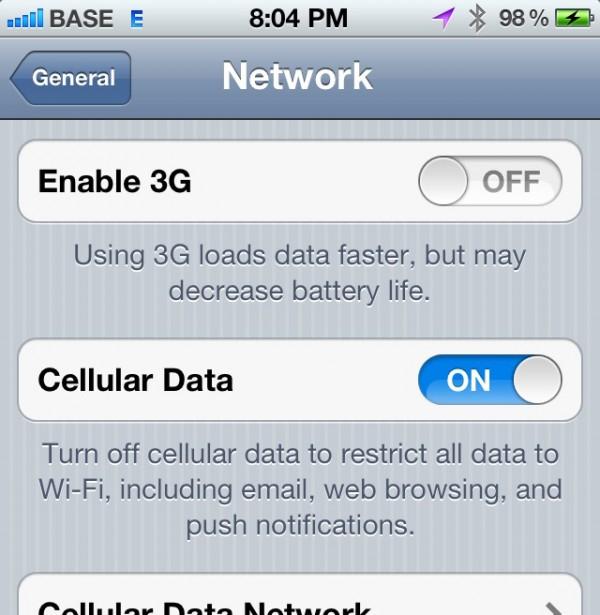 Desabilitando 3G no iPhone 4S