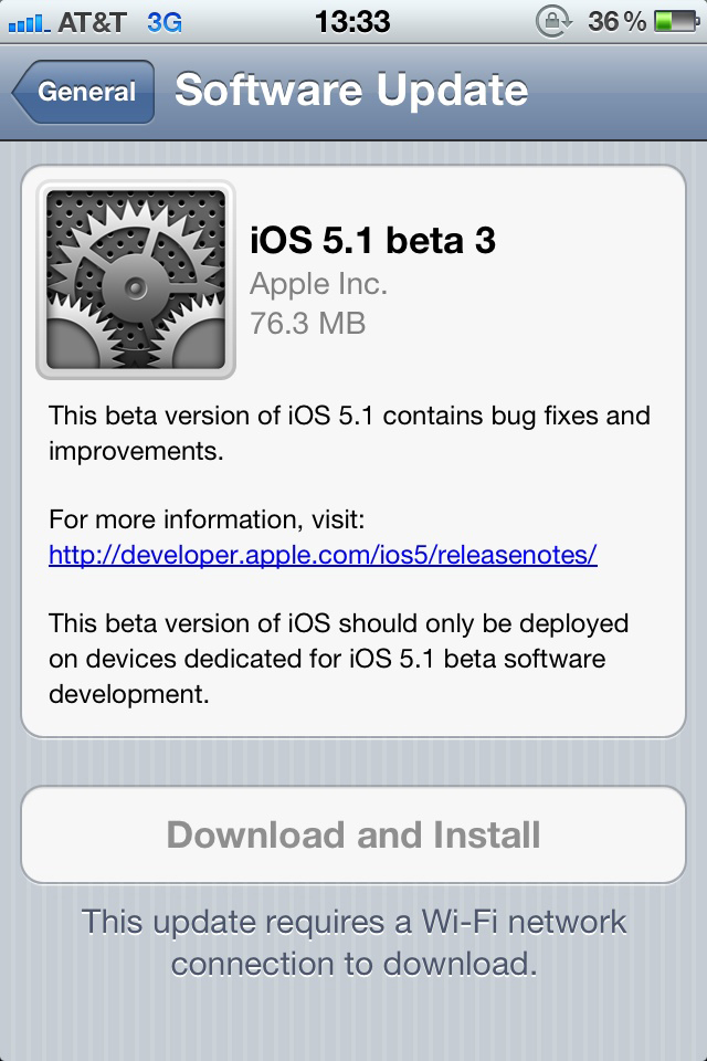 iOS 5.1 Beta 3 OTA