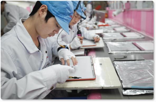 Trabalhadores em fábricas de parceiras da Apple
