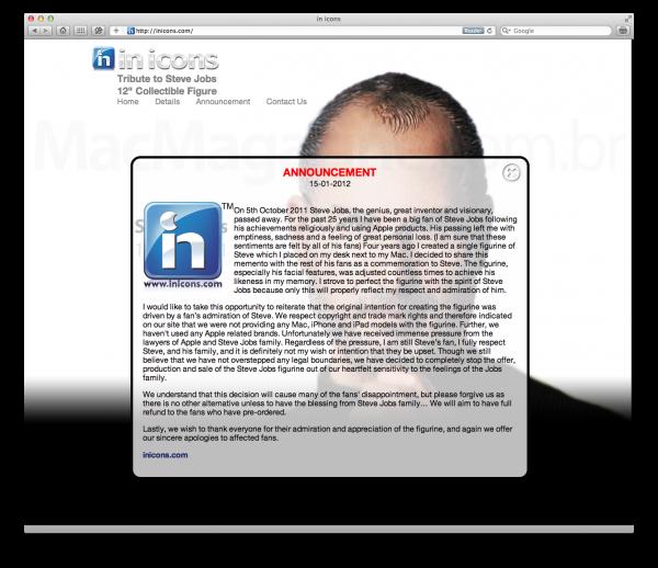 Desistência da in icons sobre Steve Jobs