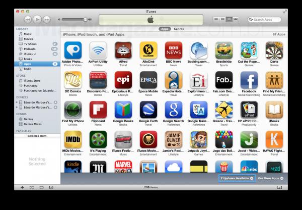 Atualização de apps - iTunes
