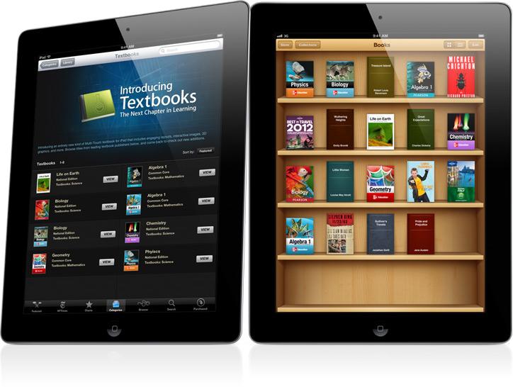 Livros didáticos em iPads