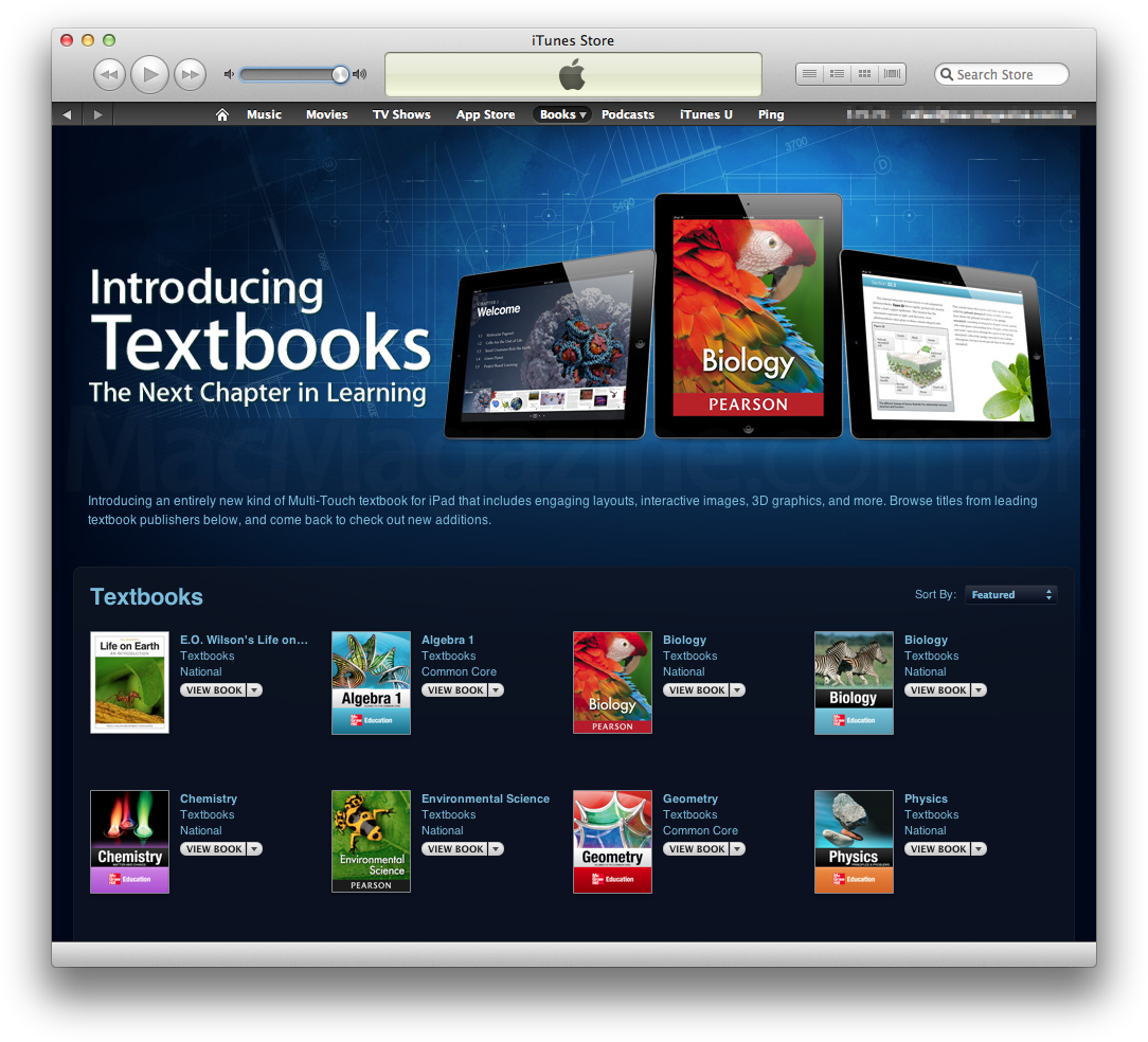 Textbooks na iBookstore via iTunes