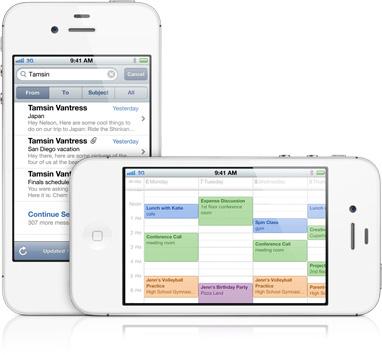 iPhone 4S rodando Mail e Calendário