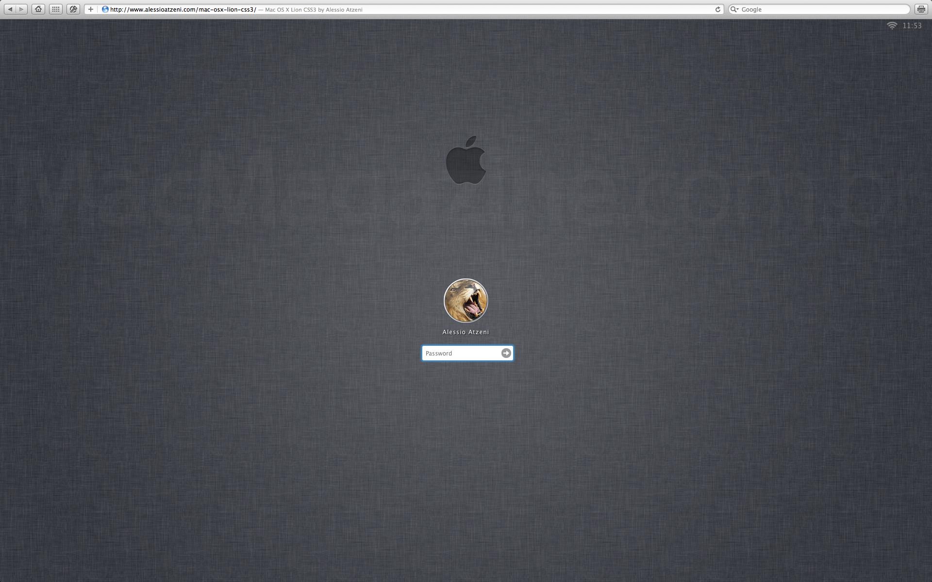 Mac OS X Lion em CSS3